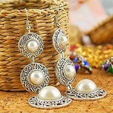 Fashion Elegant Ethnic 3 Circle Simulated Pearl Long Tassel Dangle Hook Earrings