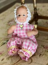 Vintage Miniature Dollhouse ARTISAN Hand Sculpted Baby Glass Eyes Hair Jointed