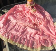 "Antique Doll Christening Gown Silk Pink Dy-Dee Baby Tiny Tears 15"" Layette"