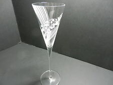 "Franklin Mint Austrian Cryst Les Fleurs Champagne Flute Etch Lily Valley 9 5/8""T"