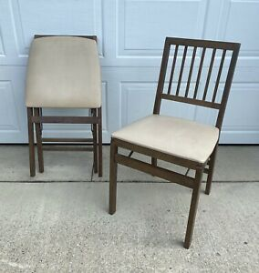 2 VINTAGE STAKMORE FOLDING CHAIRS, WOOD, MID CENTURY