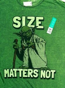 Licensed STAR WARS Yoda SIZE MATTERS NOT Bodycon Adult Green T SHIRT XL NWT 2014
