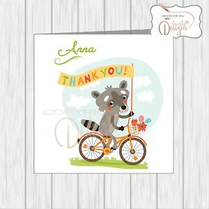 Personalised Thank You Card Special Friend Relation Cute Animal Raccoon On Bike