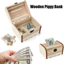 Wooden Piggy Bank Safe Money Box Savings Wood Carving Handmade Birthday Gift