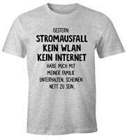 Herren T-Shirt Gestern: Stromausfall Kein WLAN Kein Internet Spruch-Shirt