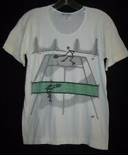 Tennis Playing Stick Figures Scoop Neck Thin T Shirt Vintage Made Shanghai China