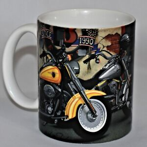 Harley Davidson 12 Ounce Coffee Mug 2002 Raised Shield Logo Inside Bottom
