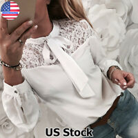 Women Chiffon Lace Tie Neck Long Sleeve Blouse Tops Ladies Office Solid Pullover