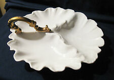Antique Old PORCELAIN SERVING TRAY Dish THREE-PART Scalloped WHITE