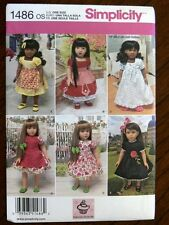 "Simplicity Pattern 1486 Fits 18 Inch Doll Vintage Style Clothes outfits 18"" doll"