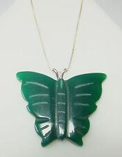 NUEVO Plata de Ley Auténtica Verde Onix Colgante de mariposa con / 45.7cm CADENA
