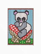 Panda On A Mushroom~Beaded Banner Pattern Only