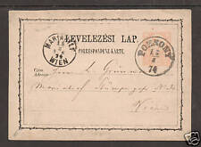 Hungary H&G 3 used 2kr. Postal Card, Pozsony 1874 CDS