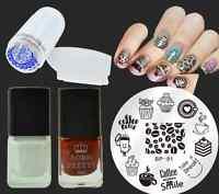 5Pcs/Set Cake Coffee Nail Art Stamp Plates Stamping Polish Stamper Scraper Kit