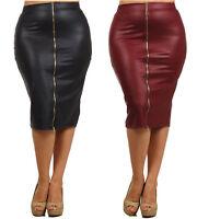 Plus Size Faux Leather High Waist Zipper Front Pencil Skirt