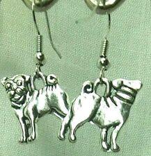 Handmade Pug Dog Earrings Bronze or Silver Animal Drop Hook Earrings