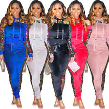 Women Hooded Tops Sequins Patchwork Casual Long Sleeve Bodycon Club Jumpsuit 2pc