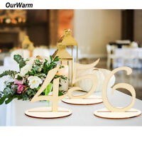 1-20 Set Wooden Table Numbers with Base Holder Stand Wedding Birthday Decor