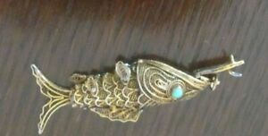 1940's Chinese Gilt Silver, Turqoise Fish Pendent, Moveable Fins