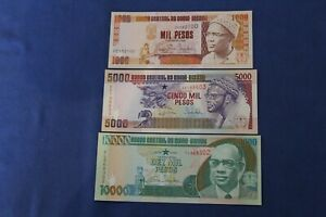 GUINEA BISSAU 1,000 - 10,000 PESOS P.13-15 UNCIRCULATED-> see many more auctions