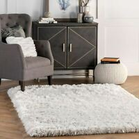 nuLOOM Handmade Contemporary Modern Fluffy Plush Shag Area Rug in Ivory