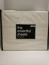 THE ESSENTIAL SHEETS BLOOMINGDALE'S TWIN SET COTTON /SATEEN IVORY NEW