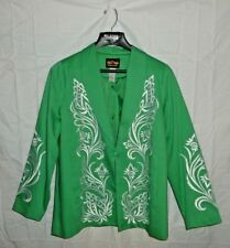 Bob Mackie Wearable Art Green Jacket White Embroidered Size XL