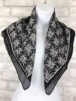 "Vintage Club 7 Echo Wool Black and White Floral Scarf. Size 26"" Square."