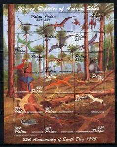 36264) Palau 1995 MNH Flying Prehistoric Animals 18v M/S