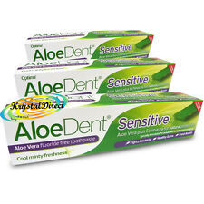 3x Optima Aloe Dent Aloe Vera Sensitive Toothpaste 100ml Fluoride Free