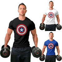 Gym Men's Cotton Captain America T-Shirt Tee Training Fitness Bodybuilding Shirt