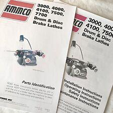 Ammco Operating Maintenance Amp Parts Manual 3000 4000 4100 7500 Brake Lathes
