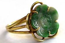 Vintage 14K Solid Gold and Jade Flower Ring Size 7