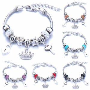 Women Glass Bead Bracelet Crown Key Lock Bracelets Charm Bangle Lady DIY Jewelry
