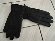 Gants femme noir 100% CUIR doublés poignet 6 7 8 noeud sexy neuf ladydjou