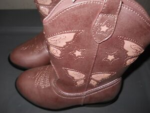 CAT AND JACK PINK BUTTERFLY EMBROIDERED COWBOY BOOTS Toddler sizes 5,6,7 (B301)