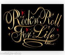 Rock´n Roll For Life Biker Aufnäher Patch 50er Rockabilly Backpatch Aufbügler