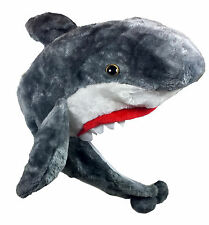 Critter Caps Plush Shark Hat Ear Flap & Chin Button Costume Theater or Furry Fun
