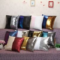 Throw Pillowcase Sequin Shinny Home Sofa Cushion Cover Reversible Square Bedding