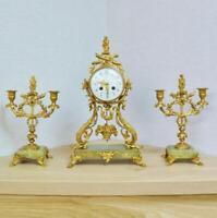Antique French Onyx & Bronze 8 Day Striking Portico Mantle Clock Garniture Set