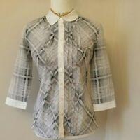 Escada Sport size 4 (34) Black & white check blouse, silk / cotton, ¾ sleeve