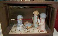 Vtg Homco Christmas Children Nativity 5 Pc Set #5602 Porcelain Figurines & Crate