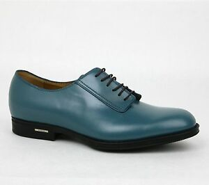 New Gucci Men's Leather Lace-up Dress Shoes w/Logo Teal Blue 368431 4418