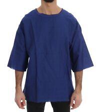 Dolce & Gabbana T-shirt Blue Linen Cotton Oversize Crewneck It54 / XXL