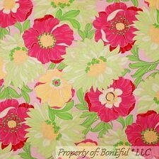 BonEful Fabric Cotton Quilt VTG Pink Green White Yellow Flower Garden Girl SCRAP