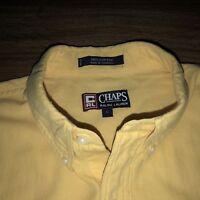 Men's L Short Sleeve Shirt VTG Button Down Yellow CRL Chaps - Ralph Lauren Crest