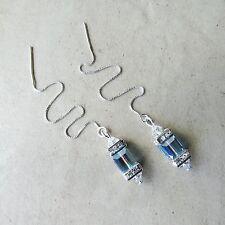 SJ1~Sterling Silver Threader Dangle Cube Earrings w/ Aqua AB Swarovski Crystal