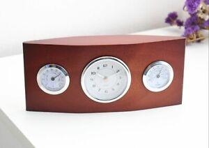 Classical Wooden Desk Table Clock Temperature Humidity - Present Idea