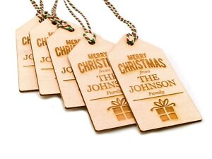 Personalised Wooden Christmas Gift Tags x5 - with your family's name / names