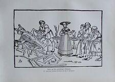 SATIRE AUF DEN UNTÜCHTIGEN EHEMANN um 1910 antiker Druck old print Lithografie